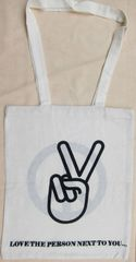 PEACE SIGN SHOPPING TOTE BAG