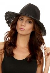 Sweet Straw Crochet wide brim panama hat in Black