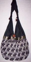 Fabric Shoulder Handbag with Elephant Detail