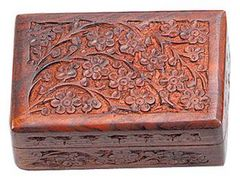 FLORAL HAND CARVED WOODEN BOX