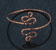 COPPER SINGLE WRAP UPPER ARM SNAKE BRACELET