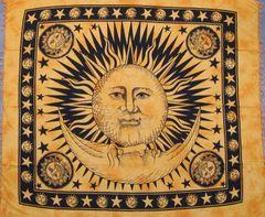 Gold Celestial Sun Moon Tapestry