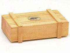 Handmade Wood Trick Box With Elephant Inlay