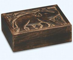 Hand Carved Mango Wood Elephant Box