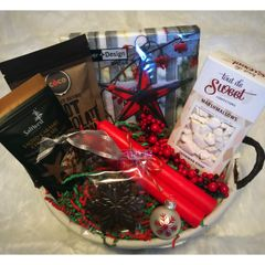 Small Holiday Basket w/Napkins and Candles - 2 options