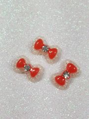 Bow #102 Red Bow with a rhinestone (pack of 3)