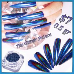 Pre order Dark Blue Holographic Peacock Chrome (0.5 gr)
