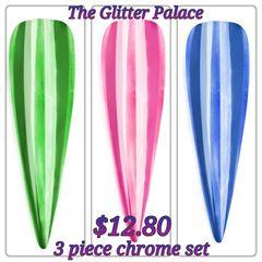 3 Piece Chrome Powder Set (1 gr ea)(green, pink, blue)