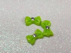 Bow #93 Neon Green Bow with a rhinestone (pack of 3)