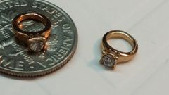 Charm #25 - Gold Ring with Rhinestone Center (Perfect For Floating Lockets,, Nail Decoration & Crafts)