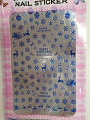 Winter Blue Snowflakes & Reindeer Sticker (F283)