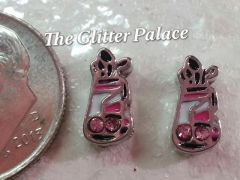 Charm #FL102 - Pink Golf Bag (1 piece)(perfect for nails, or living & floating lockets)