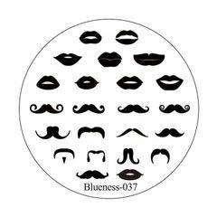 Stamping Plate - Blueness 037 - Lips & Mustache