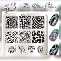 Stamping Plate (BP-X13) Animal print, sugar skull, skeletons