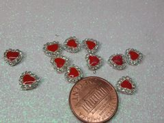 3D Heart #6 Metal Heart with red center & rhinestones (pack of 2)