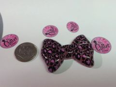 3D Bow #20. Dark Pink Sparkly Large Cheetah Bow (1 piece)