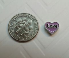 Charm #24 - Purple Heart with Love (Perfect For Floating Lockets,, Nail Decoration & Crafts)