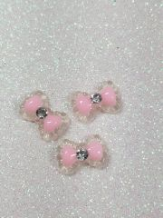 Bow #105 Pink Bow with a rhinestone (pack of 3)
