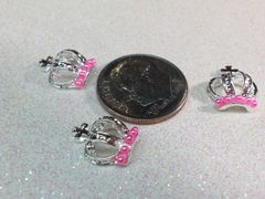 3D Crown #6 Silver with Pink Pearls (pack of 2)