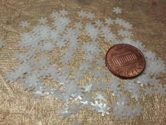 Holiday Snowflake #5 White Solvent Resistant Nail Art Insert, Glitter Shape