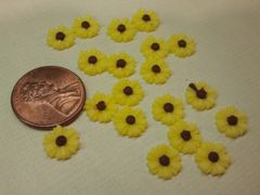 3D Flower #5 Yellow flower with dark brown center for nail decoration (pack of 3)