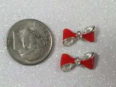 3D Bow #76 Red & Silver Bow with Rhinestones (pack of 2)