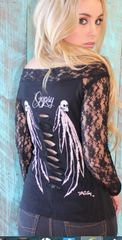 Gypsy Skulls Off Shoulder Lace (Black)