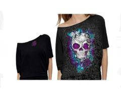 Skull off shoulder t-shirt