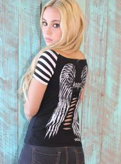Gothic Angel Striped Tee