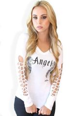 Angel Slashed Sleeve Tee - white