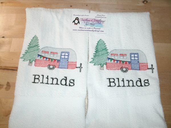 Camper With Tree Kitchen Towels Hand Towels 2 Piece Set