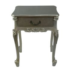 French Antique Silver Single Drawer Bedside