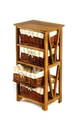 Wooden Storage Cabinet with 4 Wicker Basket Drawers