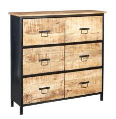 Indian Hub COSMO Industrial Style 6 Drawer Chest