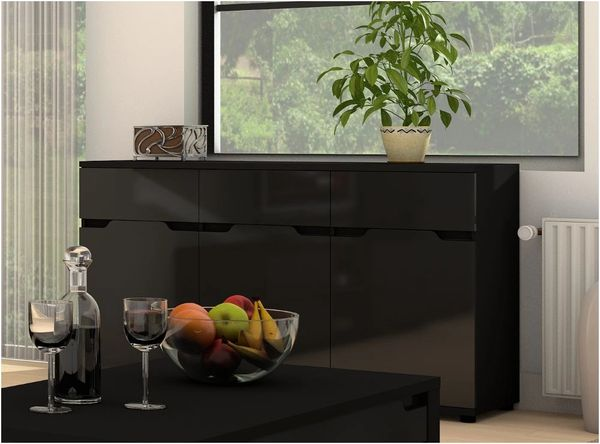 ROSE Black Gloss Sideboard