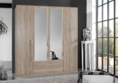 ORCHID 4 Door 2 Drawer Wardrobe with Mirror Alpine White or Oak Effect
