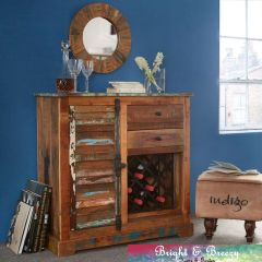 COASTAL Reclaimed Wooden Small Sideboard with Wine Rack