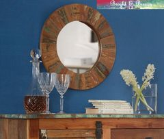 COASTAL Reclaimed Wooden Round Mirror 45CM X 45CM