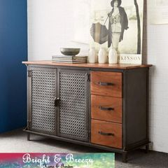 EVOKE Iron / Wooden Jali Large 3 Drawer Sideboard