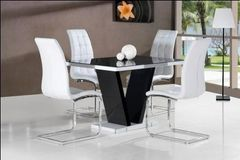 Zara Black Table Top with 4 Enzo Chairs White