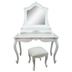 FRENCH White Carved Dressing Table, Mirror & Stool Set