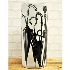 "18"" Round Black & White Umbrella Stand"