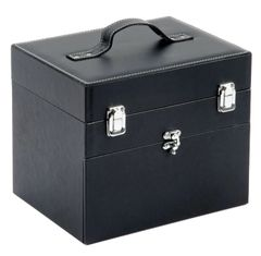 Nail Tech Case / Makeup Box Black Faux Leather