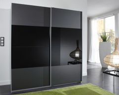 MAPLE Large Sliding Wardrobe Charcoal Black and Black Glass