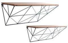 Set of 2 Black Geometric Shelves