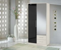 MULBERRY Black Gloss and White 2 Door 2 Drawer Wardrobe with Mirror