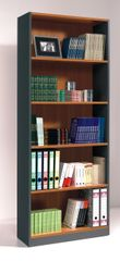 TULIP Nut Brown and Office Grey Tall Wide Bookcase