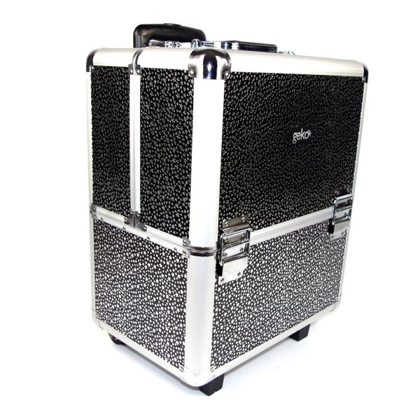 Beautician Make-up Trolley Box Black + Silver Stars