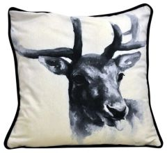 Stags Head Cushion Black 45cm