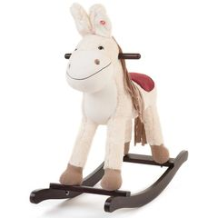 Cream Wooden Toy Rocking Donkey with Sounds and Moving Ears